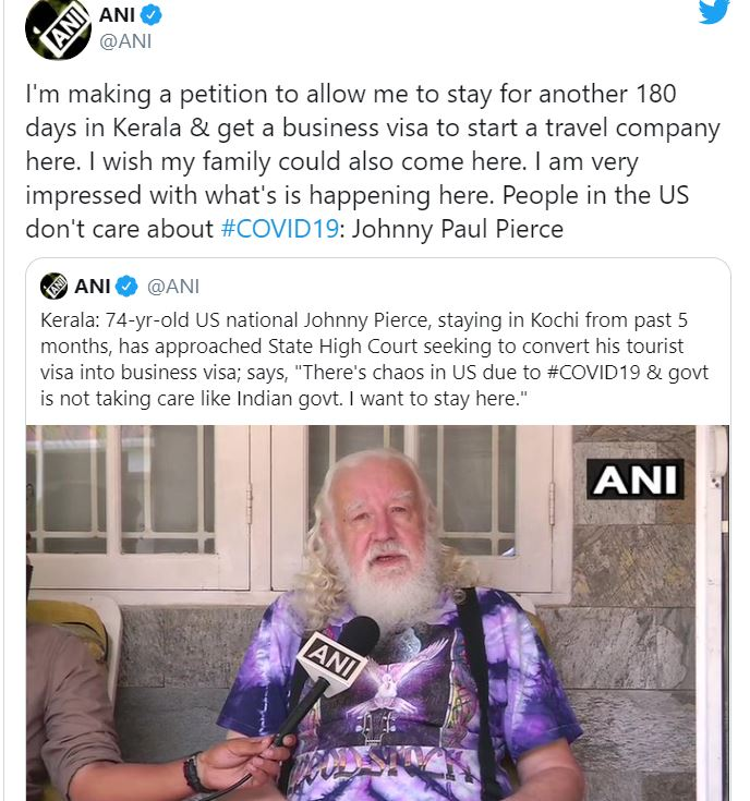 american citizen johny in love with kerala and dont want to go back