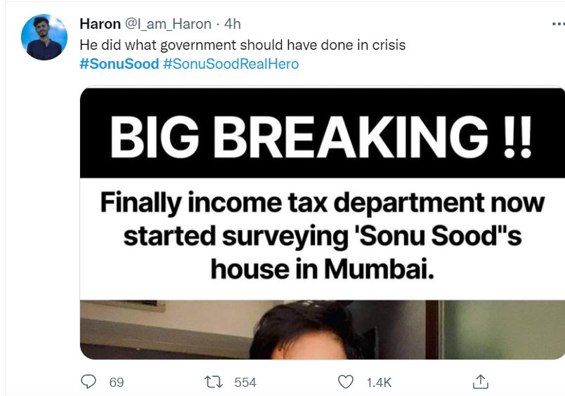 Fans support sonu sood over IT raid
